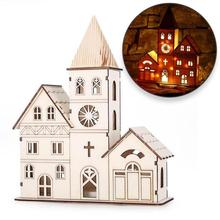 Christmas Bell Tower Lighting Mold Xmas Craft Desktop Church Ornaments Wooden Glowing House Christmas Decorations For Home V3(China)