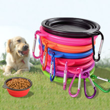 Hot Sale Folding Portable Silicone Pet Bowl Outdoor Camping Travel Dog Food Water Bowl Dog Frisbee Feeding Wholesale 8 Colors
