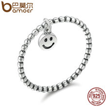 BAMOER Hot Sale 100% 925 Sterling Silver Lovely Smile Face Dangle Finger Rings for Women Sterling Silver Jewelry Gift SCR147(China)