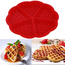 1pc Heart Shape Waffle Mold Maker 5-Cavity Silicone Oven Pan Microwave Baking Cookie Cake Muffin Cooking Tools