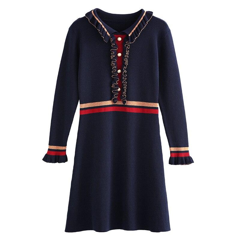 New Fashion Pleated Lace Dress Temperament Thin, Knitted Dress Flounced V Collar Dress Long Butterfly Sleeve DressÎäåæäà è àêñåññóàðû<br><br>