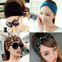 Fabric Headbands Hairbands Brown Leopard Print Red Rose Pink Blue Green Orange Yellow Woman 54cm, 1 Pcs