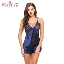 Avidlove Sexy Nightgown Lingerie Fashion Patchwork Nightdress Women Sheer Scalloped Satin Nightwear Silk Slip Sleepwear Chemises(China)