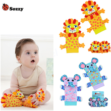 Wholesale 40pcs/lot Sozzy Garden Bug Wrist Rattle and Foot Socks baby rattle toys (20 pcs waist+20 pcs socks)/lot