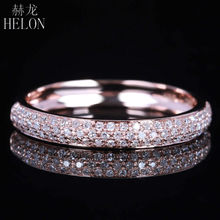 HELON Solid 10k Rose Gold Half Eternity Band Pave Natural Diamond Elegant Cluster Engagement & Wedding Ring Women's Jewelry Band