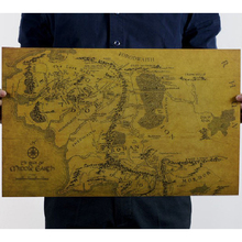 Hot sale poster of the world's nautical world map Lord of the rings map wall sticker home decor living room for kids rooms