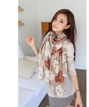 Fashion Skull Print Scarf Women  Ghost Head Print  Scarves Shwals Wrap Hijab Wholesale 10pcs/LOT