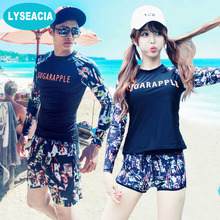 LYSEACIA Letters Couples Clothes Rash Guards Long Sleeve Swimsuit Women Men Wetsuit Lovers Rashguards Surfing Two-Piece Swimwear(China)