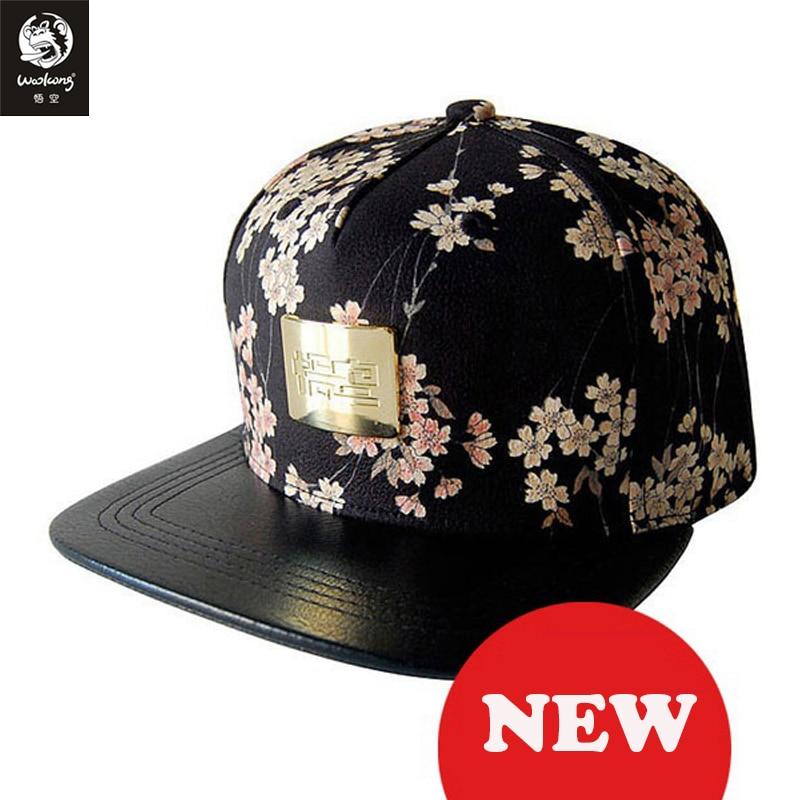 The Wookong 2017 cotton black men women baseball caps men Japan Cherry blossoms print golden logo M-B026 free shipping<br>
