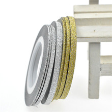 1Rolls Nail Art Glitter Gold Silver Stripping Tape Line Strips Decor Tools 1mm2mm3mm Nail Sticker DIY Beauty Accessories BENC275
