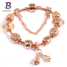 Buy BAOPON Rose Gold Chain Crystal Beads Flower Charm Bracelets Bells Pendant Pandora Bracelet Women DIY Jewelry for $2.79 in AliExpress store