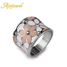Ajojewel Brand Scarves Buckle Beautiful White Gold-color White & Black/ Pink Enamel Women Rings Flower With CZ