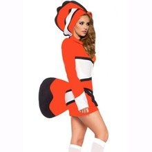 Finding Nemo Ocellaris Clownfish Cosplay Costume Tropical Fish Costume Orange Stripes Halloween Costumes for Women