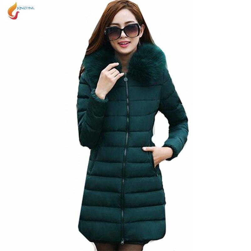 JQNZHNL 2017 Winter Women Slim Show Thin Cotton-padded jacket  Hooded Fur collar Women Medium long Thicken Big yards Coat G1286Îäåæäà è àêñåññóàðû<br><br>