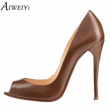 AIWEIYi Women's Stiletto High Heels Peep toe Pump Shoes Black Brown Slip On High Heels Spring Autumn Ladies Wedding Shoes Woman(China)
