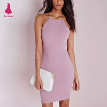 Buy FIRSTTO Sexy Spaghetti Strap Rubber Bodycon Dress Slim Sheath Packege Hips Short Dresses Women femme 5 Color for $14.24 in AliExpress store