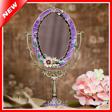 Tin Alloy Antique Beauty Vanity Makeup Mirror For Woman Cosmetic Mirror Dressing Table Standing Mirror Home Decorative Mirror(China)