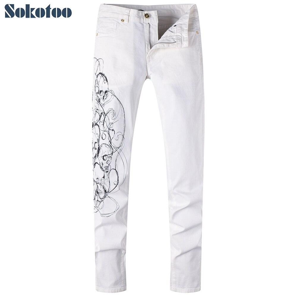 Sokoto Mens white skull drawing 3D print jeans Casual slim straight denim pantsÎäåæäà è àêñåññóàðû<br><br>