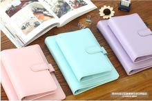 New Creative kawaii Candy color A5/A6 PU notebook loose leaf ring binder diary planner cover office stationery No inside pages
