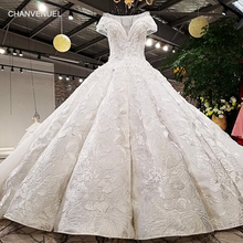 Buy LS59840 see scoop neck 2018 new design satin cap sleeve big heavy skirt super long train corset back wedding dress for $622.19 in AliExpress store
