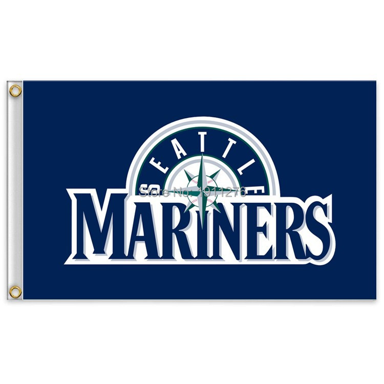 Seattle Mariners Major League Baseball MLB Pennant USA 90 * 150cm free shipping 100D sports decoration(China (Mainland))