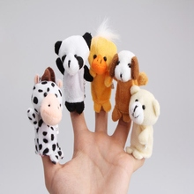 Cute 10Pcs Stuffed Plush Animal Finger Biological  Play Learn Story Telling Tale Toys Dolls Gifts For Baby Children Kids