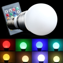 Hot Energy Saving Colorful E27 LED RGB 3W 16 Colors Change Lamp Light Bulb+24 key IR Remote Controller For Shop Hotel Showroom