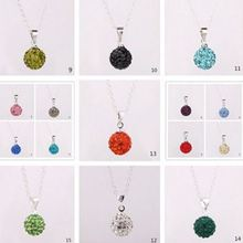 10mm women wedding Mixed white disco ball Silver Plated Crystal Shamballa Necklace Pendant multicolor Chain men gift DE3RE3