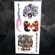 Indian Triabl Tiger King ColorFul Leopard Face Temproary Tattoo Men Body Arm Fake Tattoo Sticker Waterproof Flash Tatoo Women