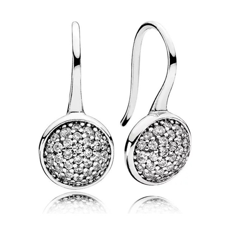 New 925 fine jewelry High quality Original Engraving Charms Dazzling Droplets drop Earrings fit brand for women Clear 290734