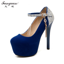 Big size 34-42 Shimmery Belt Mary Jane Style Metallic Chains Party Wedding Shoes Round Toe High Heels Platform Women Pumps(China)