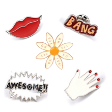 2017 personality cartoon BANG AWESOME !! Sexy Red Lip Hand Cute Enamel Pin Set Brooch Set Lapel Pins Set For Jeans Hat pin Badge