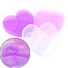 transparent 5 grids Medicine pill box plastic heart love shape jewelry box Beaded style hair elastic Box Kit gift(China)