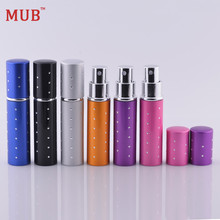 MUB - Top Quality 10 ml 1 Piece Mini Aluminum Parfum Bottles With Pump Sprayer Printing Fashion Refillable Perfume Atomizer(China)