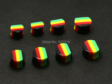 40pcs rasta design red yellow green 14mm-20mm ear plug acrylic saddle ear gauges mix size lots wholesale body piercing jewelry