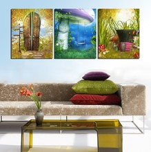 3 Panel Modern  Painting Home Decorative Art Picture Paint on Canvas Prints Anime sign, mushrooms and swing