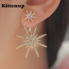 Kittenup New Fashion Geometric Luxury Double Star Snowflake Earrings For Women Classic Jewelry Rose Gold Silver Black Color(China)