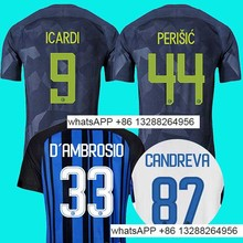 17 18 INTER home soccer jersey 2017 2018 JOVETIC ICARDI PALACIO KONDOGBIA MEDEL CANDREVA Jovetic away Milan football shirt(China)