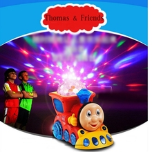 Music light Thomas train Simulation of Electric Thomas Track Toy Train Children's Car Model Baby Toy/Cartoon star projector D028