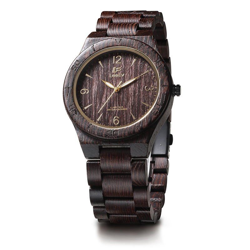 LeeEv EV1918 Mens Natural Wenge Wood Watch Analog Quartz Light Weight Vintage Wooden Wrist Watch<br>