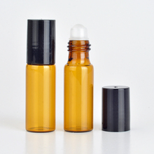 Wholesale 100Pieces/Lot 5 ML Roll On Portable Amber Glass Refillable Perfume Bottle Empty Essential Oil Case With Plastic Cap(China)