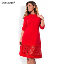 New Bodycon Red Blue Black Elegant Women Dress Loose Half Sleeve Solid Lace Dress O-Neck Women Dresses Plus Size L -6XL(China)