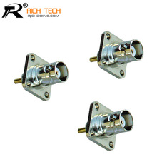 BNC Female 4-hole Panel Mount Connectors RF Coaxial Copper BNC Jack 4 Hole Flange Panel Chassis Mount Solder Plug