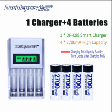 Doublepow 4 slots DP-K98 Intelligent Rapid LCD Charger with 4pcs/Lot DP-2700mA 1.2V AA 2700mA Ni-MH Rechargeable Batteries