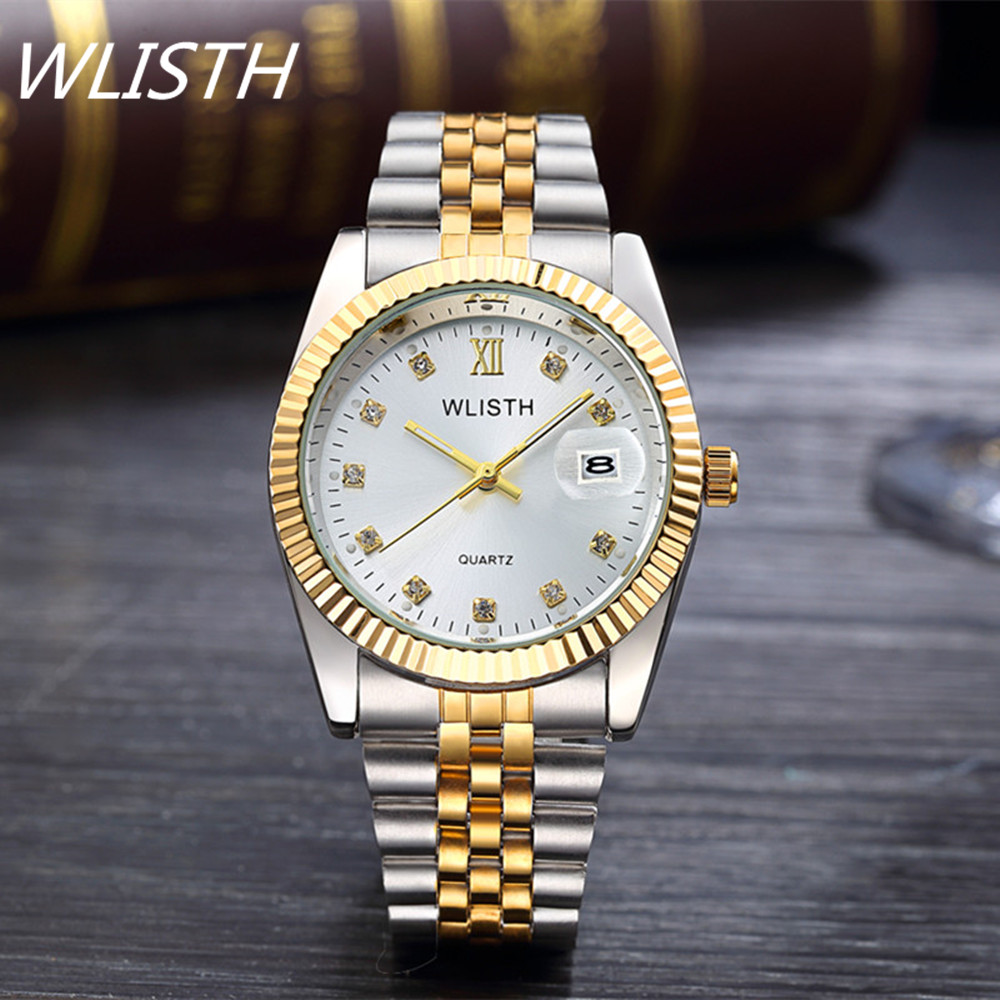 2016 New Fashion gold watch men full Stainless Steel Quartz watches waterproof Wrist Watch for men Analog Auto date male clcok<br><br>Aliexpress