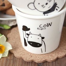 lovely animal Chinese Zodiac (cow) cups Ceramic Eco Cup porcelain Mug Coffee Cup milk cup gift customized