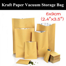 "100pcs 6x9cm (2.4""x3.5"") 280micron Small 3 Sides Sealing Kraft Paper Packaging Bag Food/Meat Vacuum Foil Storage Bag"