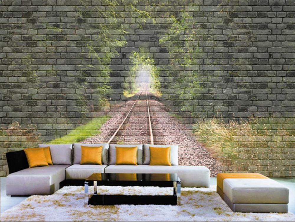 Custom 3d Wallpaper Mural Retro Tunnel brick Wall Wall Decorations Living Room Bedroom Modern Wall paper Wall Large backdrop<br>