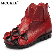 MCCKLE 2017 Spring Autumn comfortable Fashion Women's  Genuine Leather Ankle Boots Ladies Vintage Hidden Wedges flowers new