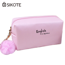 SIKOTE New Fashion Pure Color Waterproof Cosmetic Bags High Quality Storage Cases Travel Makeup With Lovely Small Fur Ball